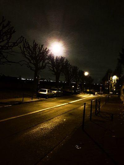Night Tree Car Illuminated Outdoors Bare Tree No People
