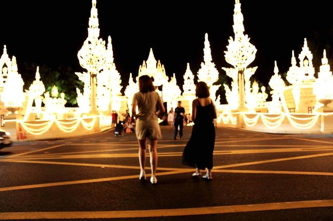 Night light!! Night Light And Shadow Adult Women Illuminated Full Length People Outdoors City Togetherness Blackandwhite Oragne Walking Street Crossing
