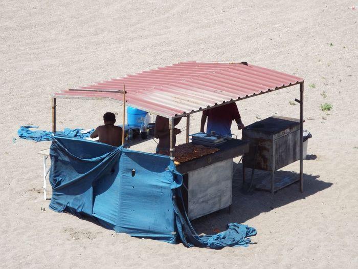 High angle view of shack at beach