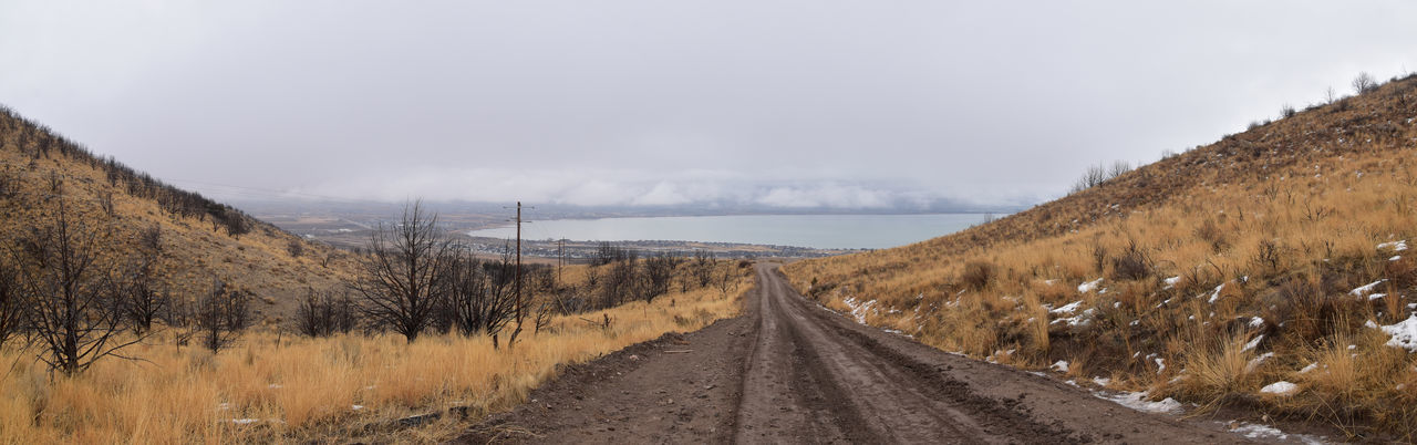 Panoramic view of road amidst land against sky