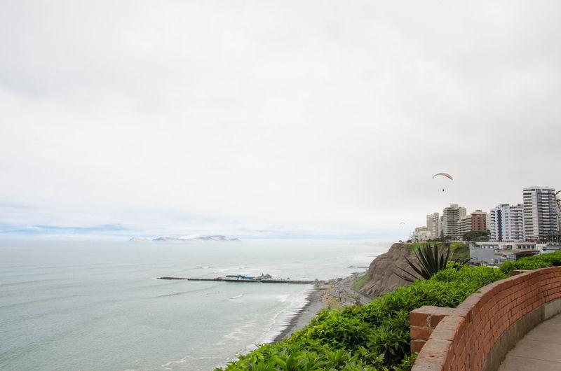 Coastline Flying Horizon Over Water Inca Lima Miraflores Pacific Ocean Paragliding Peru Scenics South America Tranquility Water Barranco Barranco Lima Miraflores Lima