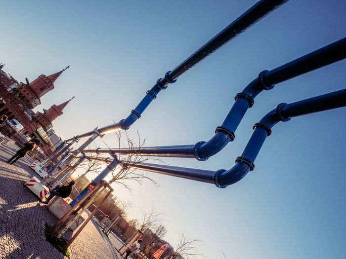 Low Angle View Clear Sky Blue Outdoors No People Sky Day Streetphotography Candid Pipes Pipeline Capture Berlin Berlin City Germany Travel Destinations Travel
