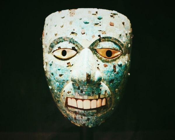 Mask Green Aztecs Human Face Human Eye Antique Museum British Texmex Close-up Black Background History