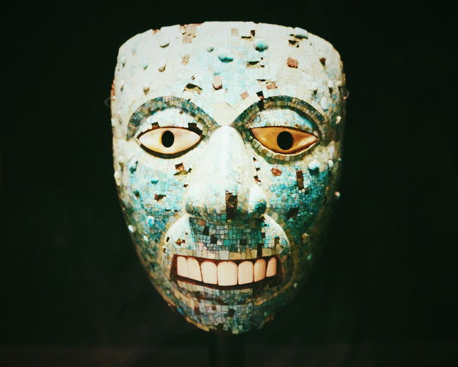 Mask Green Aztecs Human Face Human Eye Antique Museum British Texmex Close-up Black Background History