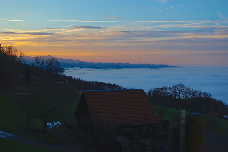 The sea of fog covers Lake Constance, seen from Rorschacherberg, Switzerland. Beauty In Nature Cloud Cloud - Sky Lake Constance Landscape Nature No People Orange Color Outdoors Rorschacherberg Rural Scene Scenics Sea Of Fog Sky Sunset Switzerland Tranquil Scene Tranquility Weather
