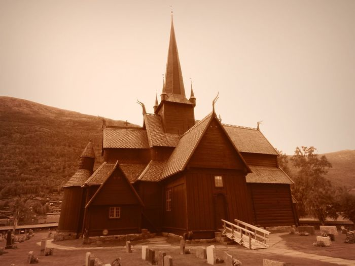 Norway Architecture Belief Building Building Exterior Built Structure History House Nature No People Outdoors Religion Sky Spire  Spirituality Stavkirke Tower Travel Destinations Wood - Material