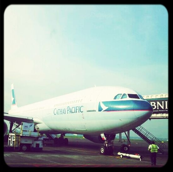Airplane At The Airport Cathay Pacific