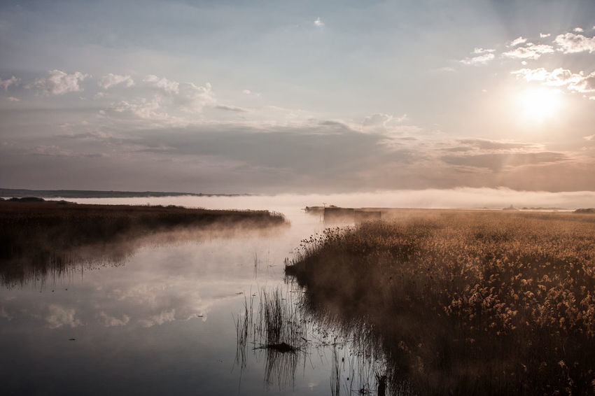 Beauty In Nature Day Fog Hazy  Idyllic Lake Landscape Mist Nature No People Outdoors Reflection Scenics Sky Steam Sun Tranquil Scene Tranquility Water