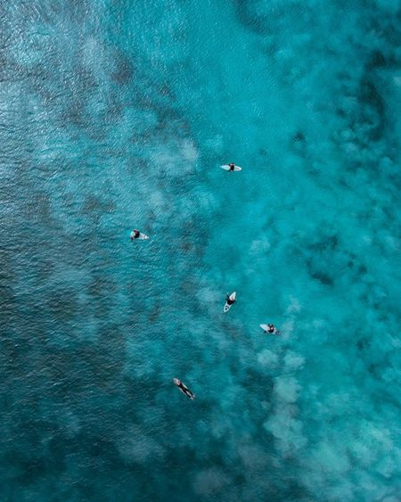 Aerial view of people on surfboards in sea