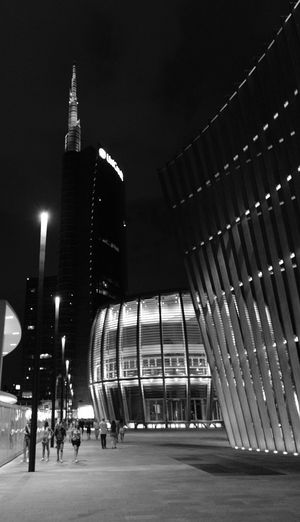 Black & White Milano Italy Architecture Building Exterior Built Structure City City Life Illuminated Milanocity Night Outdoors Sky Travel Destinations Vertical Garden
