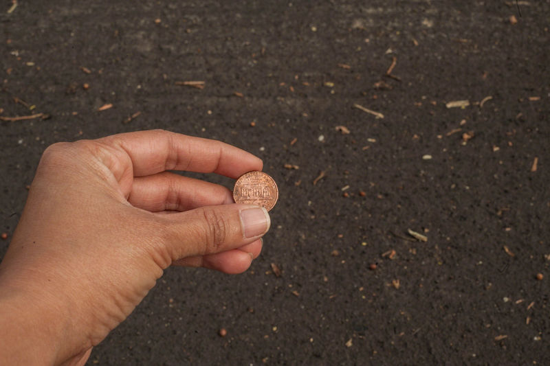 """""""Find a penny, pick it up. All day long, you'll have good luck!"""" Beginnings Carefree Close-up EyeEm EyeEm Best Shots Good Luck Holding Human Body Part Human Finger Human Hand Money Penny Selective Focus"""