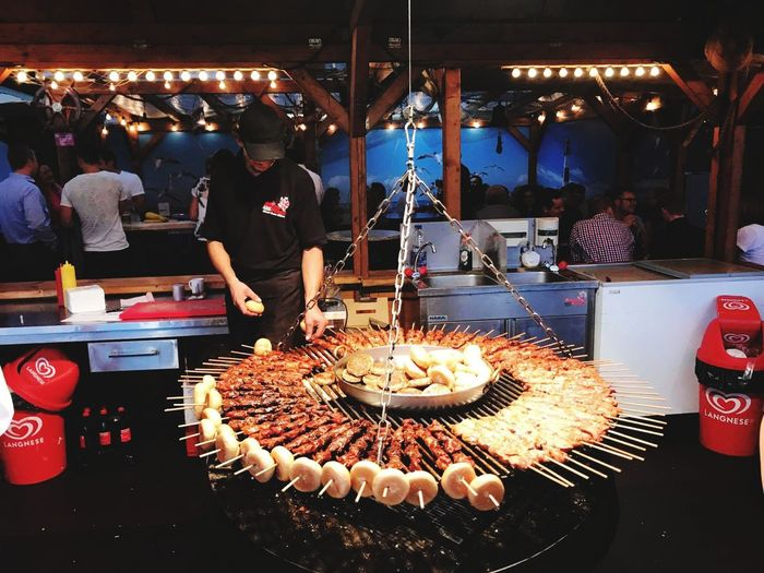 Food Food And Drink Restaurant Market Stall Eating Meat Night Ready-to-eat Illuminated Market Love This Place ♥_♥ Hannover, Germany Hannover Messe