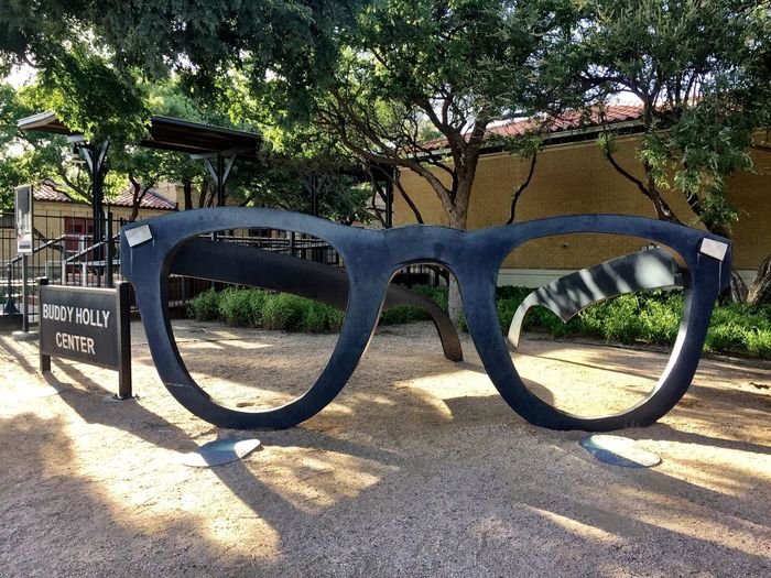 Tree Sunlight No People Day Shadow Outdoors Nature Lubbock, TX Buddy Holly Pioneer Rock'n'Roll Sculpture Glasses