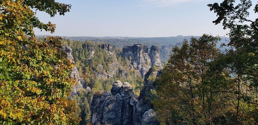Horizon Eroded Rock Formation No People Outdoor Photography Basteibrücke Elbsandsteingebirge Tree Sky Geology Natural Landmark Rock Idyllic Physical Geography