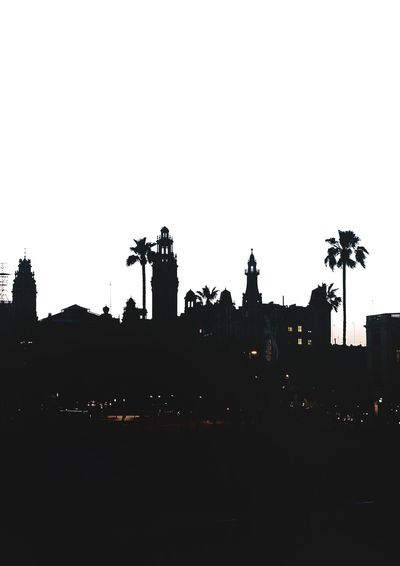 Barcelona Cityscape Silhouette Sky Copy Space Clear Sky Architecture Nature Built Structure Building Exterior City Building Dusk Street