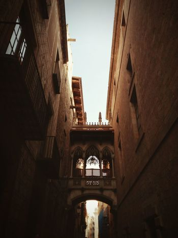 Barcelona Barrio Gótico Barrio Gotico Gothic Wall Walls Sky Bridge Window Catalunya Travel Destinations No People Outdoors Low Angle View City