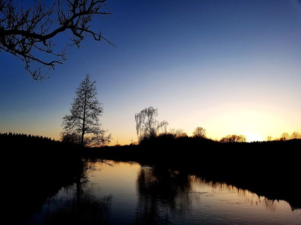 #river #ilmenau Silhouette Reflection Tree Sunset Lake No People Water Nature Sky Outdoors Beauty In Nature Day Pixelated
