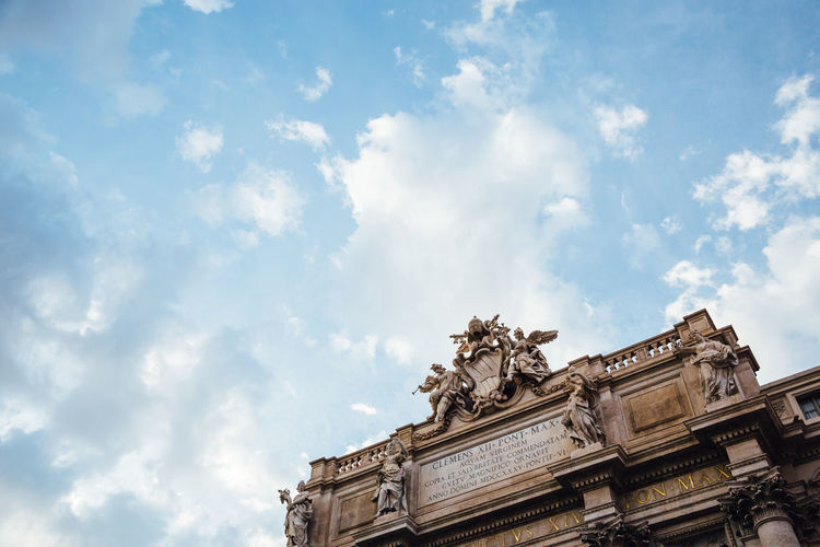 Trevi Fountain Trevi Fountain Architecture Blue Sky Building Exterior Built Structure Cloud - Sky History Low Angle View Ornate Outdoors Representation Sculpture Sky Statue The Past Tourism Travel Travel Destinations Trevi