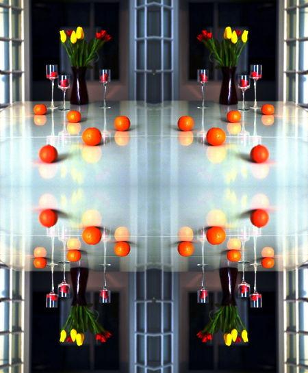 Mandarin Candles Tulips Still Life Reflection Home Interior Home Table