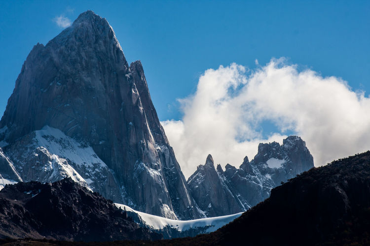 Chalten Fitzroy Beauty In Nature Cloud - Sky Cold Temperature Day Landscape Mountain Mountain Range Nature No People Outdoors Panoramic Peak Physical Geography Scenics Sky Snow Snowcapped Mountain Tranquil Scene Tranquility