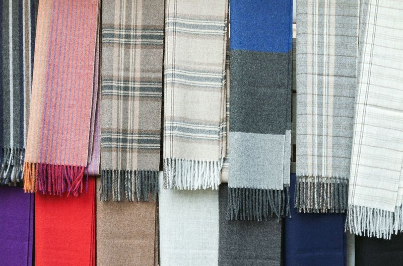Full frame shot of colorful shawls for sale
