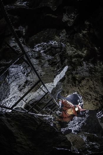 Long ladder at cave Stara Garda - Borinka Karst Adventure Amazing Beauty In Nature Black Canon Cave Caver Caving Climbing Dark Epic Exploration Flash Karst Ladder Nature Nature Outdoors Pit Speleo Speleology Travel Underground World