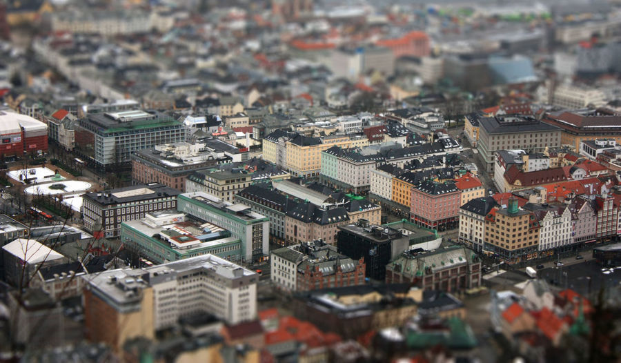 Tilt-shift image of buildings in city