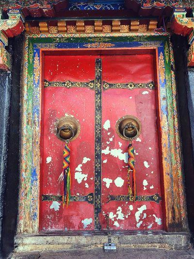 Close-up of closed wooden door