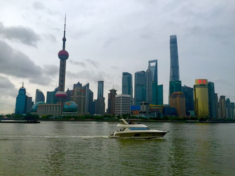 Shanghai Skyline Skyscraper City Boat China Summer Skyline Cityscape Financial District