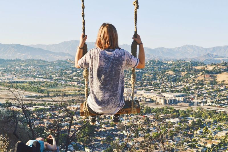 LA ROPE SWING Real People Leisure Activity Clear Sky Cityscape First Eyeem Photo