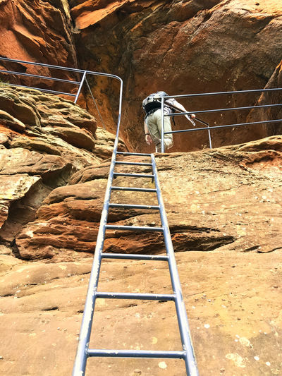taking the stairs to the top Above Climb Climbing Dahn Day Hike Hiker Hiking Outdoors Person Rock Rock - Object Rock Formation Staircase Stairs Steps Steps And Staircases Top Up Wall Rock Wander Wanderer