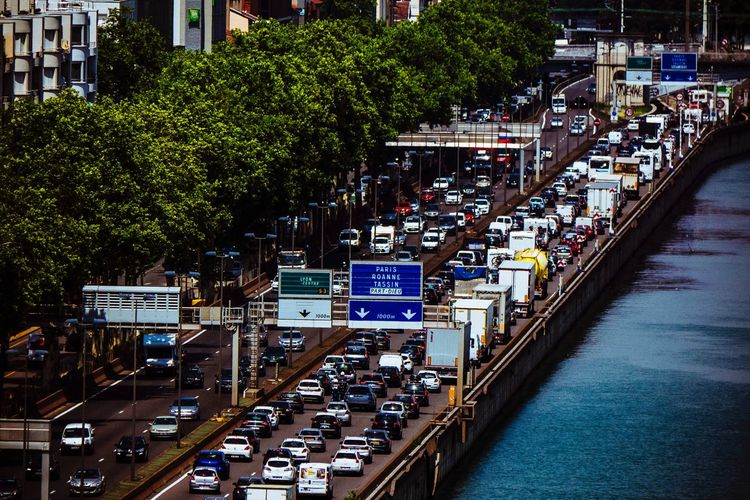 Trafic in Lyon Mobility In Mega Cities Jammed  Cars Trafic In A Row Tree Architecture Outdoors Building Exterior Water Day