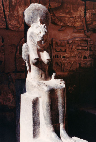 Statue of god Sekhmet - Valley of the Kings, Thebes, Luxor, Egypt Architecture Statue Day Outdoors Sculpture Art And Craft Valley Of The Kings Sarcophagus Close-up Egyptian Statue No People Sekhmet Female Form Ancient Civilization Human Representation Luxor, Egypt Thebes Lioness Headed God Sun Disc Of Amun Disc Halo Of Amun