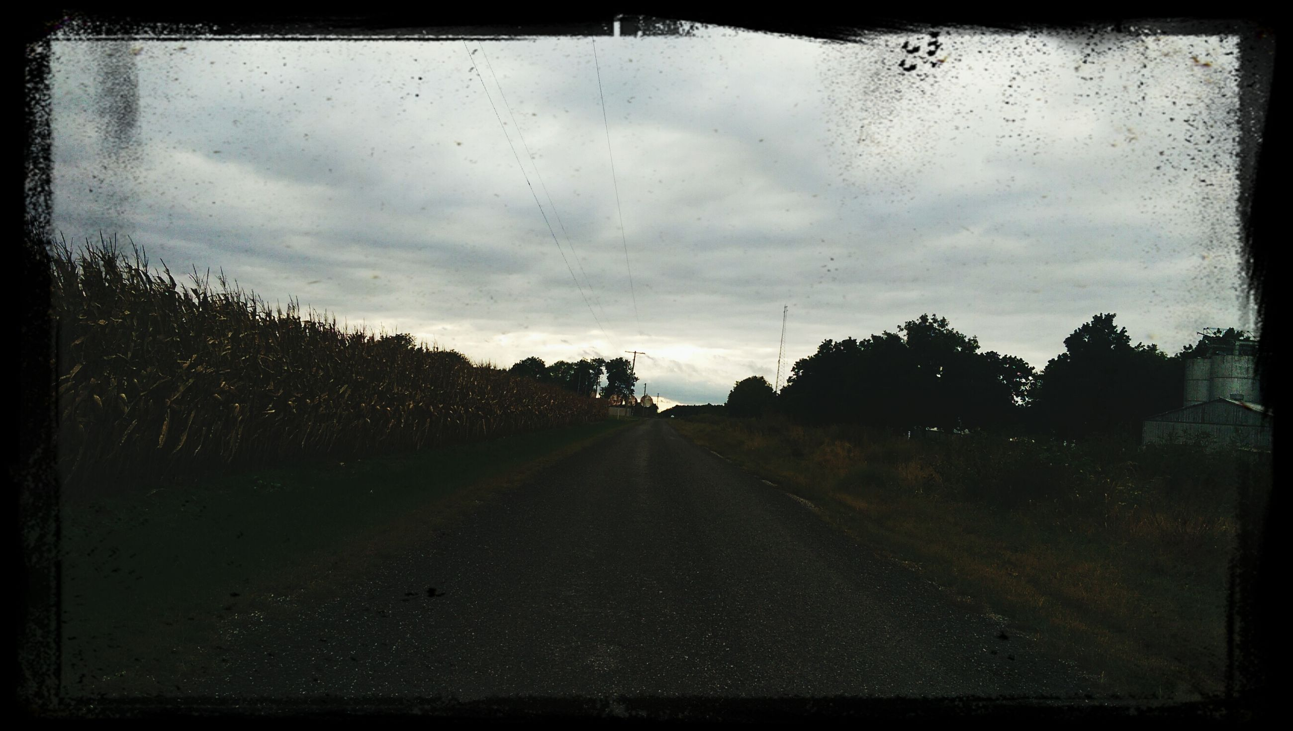 the way forward, transportation, transfer print, sky, diminishing perspective, road, vanishing point, auto post production filter, cloud - sky, tree, country road, cloudy, weather, tranquility, nature, road marking, cloud, tranquil scene, street, landscape
