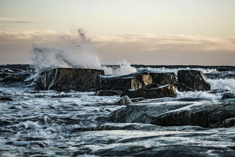 Windy day at Sea. Sea And Sky Baltic Sea Water Splash Splashing Waves Clouds Clouds And Sky Rocks Nature Sweden