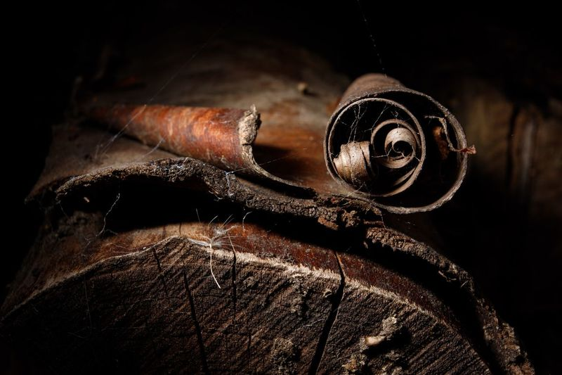 Close-up of old rusty metal wood