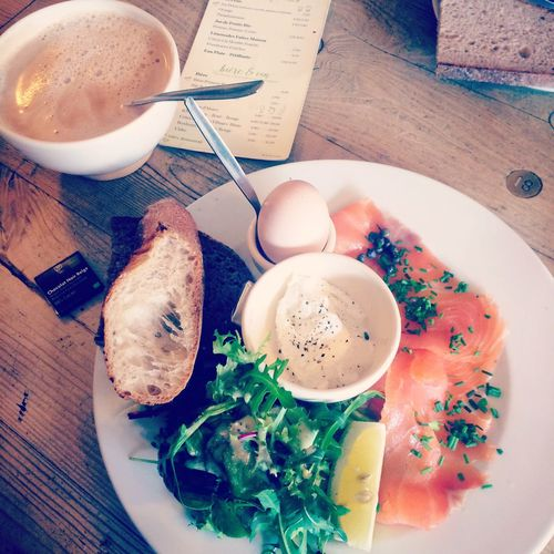 Catching up with friends Manhattan Breakfast Le Pain Quotidien Breakfast Large Latte Morning Coffee Smoked Salmon  Bread Egg Sharing A Table Wooden Table