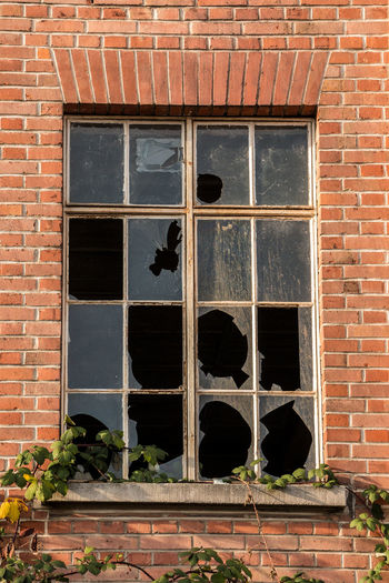 Old destroyed brick house ruin with broken windows Architecture Building Exterior Built Structure Brick Window Brick Wall Wall Building Day No People Wall - Building Feature Low Angle View Outdoors Glass - Material House Nature Old Sunlight Residential District Plant Window Frame