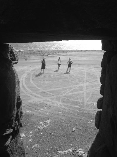 Black & White Aruba Naturally Framed Castle Ruin Beach Ocean Flat Figures View From Up Above Hot Day