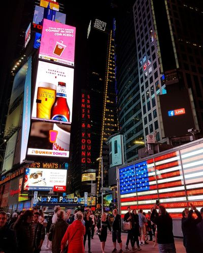 Night Illuminated Multi Colored City Life Large Group Of People Travel Destinations Neon Building Exterior City Nightlife People AdultCrowd Architecture Lifestyles Modern Outdoors New York City Sky Adults Only Times Square NYC