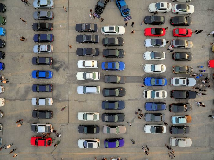 Flying High In A Row Land Vehicle City View From Above Drone View Drone  Drone  Parking Lot Parking Space Cars Fresh On Market 2017