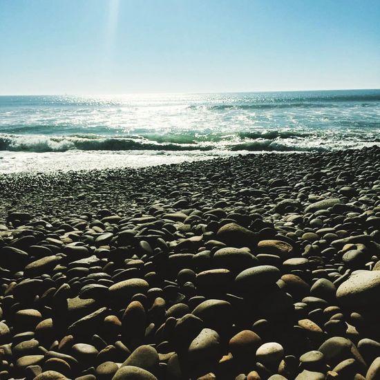 Sea Sunlight Pebble Beach Horizon Over Water Wave
