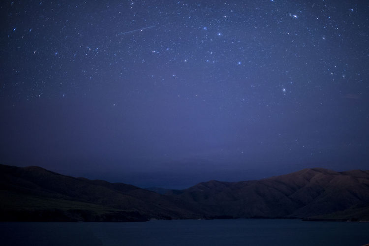 Astronomy Beauty In Nature Blue Dark Idyllic Infinity Lake At Night Landscape Lucky Peak Majestic Mountain Mountain Range Nature Night Night Sky Nightphotography No People Scenics Sky Space Star - Space Star Field Stars Tranquil Scene Tranquility