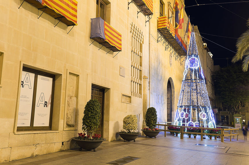 Elche, Spain. December 18, 2017: Town Hall Square of the city of Elche, with Christmas decoration. Alacant Alicante Alicante Province Spain Christmas Elche Elx SPAIN Spanish Travel Architecture Building Exterior Built Structure Chrismas Lights Christmas Decoration Christmas Ornament Day Indoors  No People Potted Plant Travel Destinations