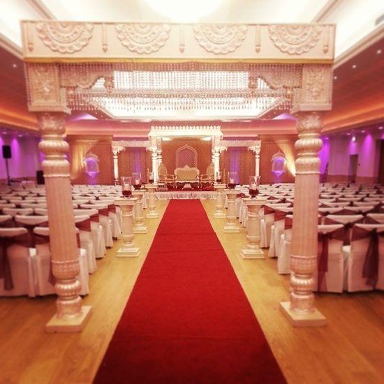 Swargweddings Oshwalcenter Pottersbar London Hinduwedding Wedding Indian Asian  Celebrations Jodhaakhbar Mandap Ivory Maroon Gold