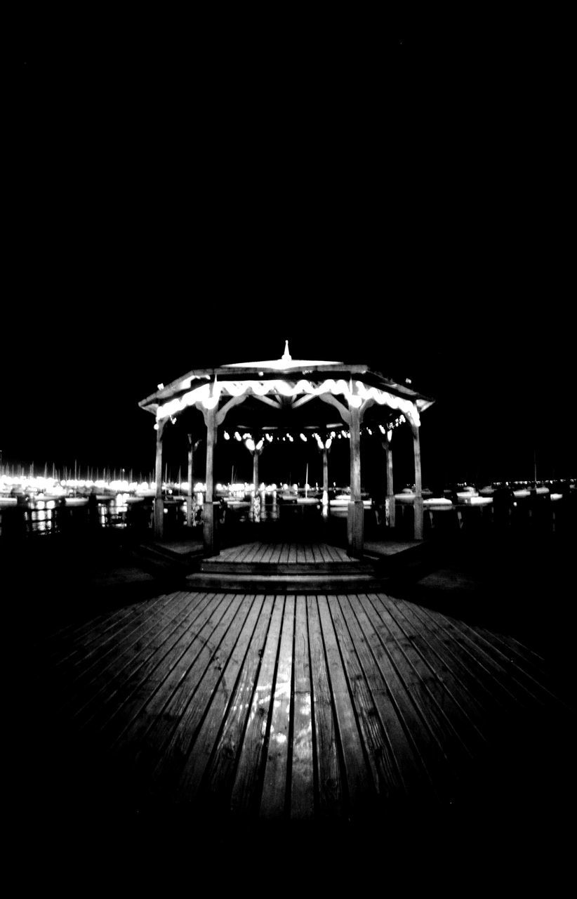 night, amusement park, illuminated, outdoors, no people, carousel, clear sky