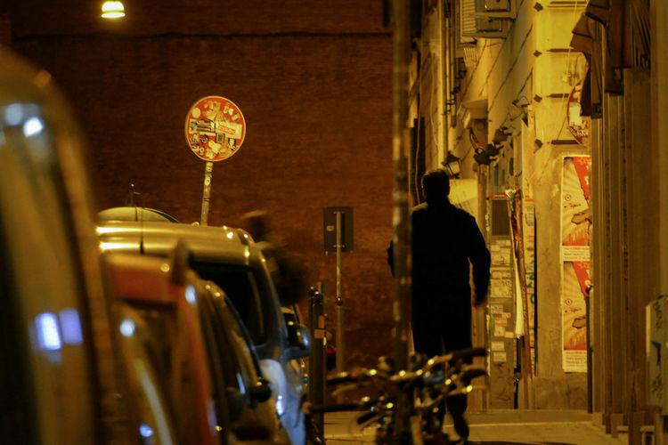 Rear view of man on illuminated car at night
