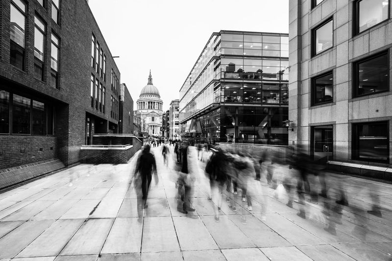 City City Street EyeEm LOST IN London London Streets Architecture Blurred Motion Building Building Exterior City Day Long Exposure Motion People Walking  Real People Street Walking