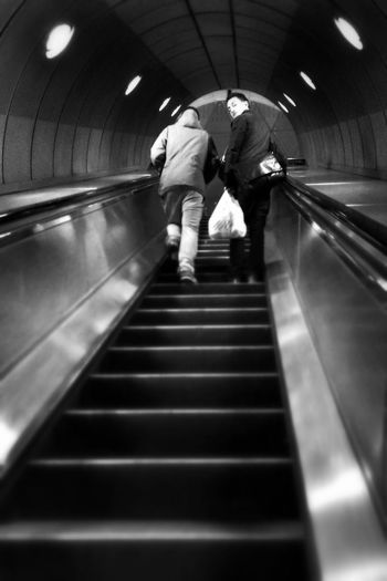 Black and white, people, moving up, travel