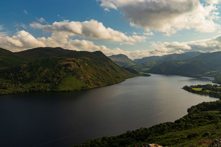 Scenic view of ullswater and mountains against a cloudy sky